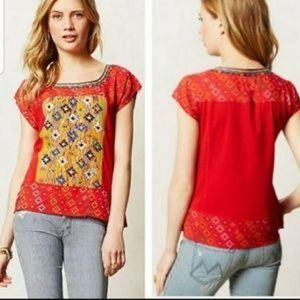 Anthropologie Tiny Plevna Red Tribal Tee Large